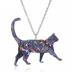 Jewelry - Colorful Walking Cat Acrylic Pendant Necklace